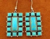 Vintage Native American Zuni Old Pawn Navajo Sterling Silver Kingman Turquoise Rectangle Channel Inlay Modernist Dangle Earrings Signed
