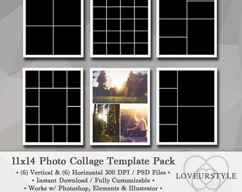 11x14 Photo Template Pack, 12 Templates, Collage Design, Storyboard, Scrapbooks, Photography Templates, Portfolio Template, Photoshop