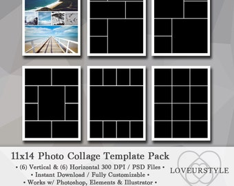 11x14 Photo Template Pack, Photo Collage, Storyboard, Scrapbook Template, Photography, Portfolio Design, Photoshop, Elements, Illustrator
