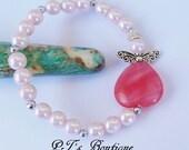 """CLEARANCE ~ Unconditional Love ~ Authentic Cherry Heart Quartz & Pink Faux Pearl Angel Bracelet 8"""""""