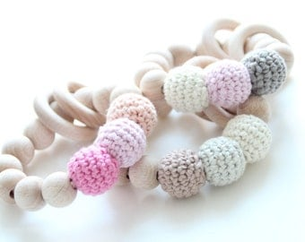 Organic baby teething toy with wooden rings / Teething toy - rattle / Beads are safe for teething