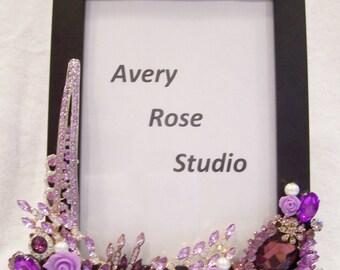 Jeweled Black Photo Frame. Birthday, Anniversary, Wedding, Shower, Graduation, Holiday Gift.