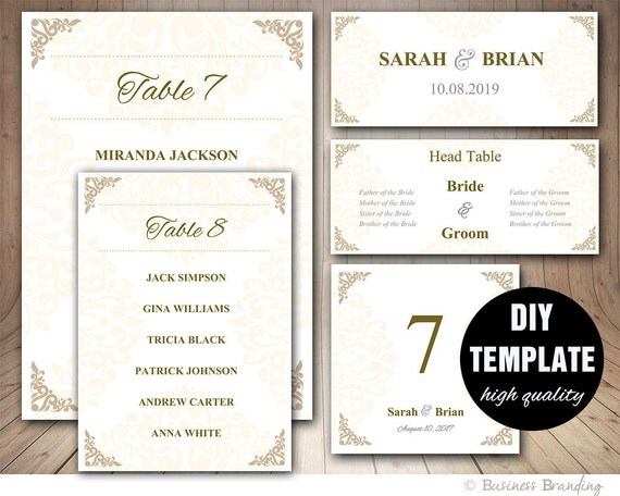 gold wedding seating chart template wedding place card
