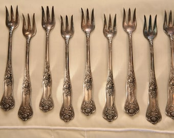 9 ANTIQUE Silverplate Seafood Forks