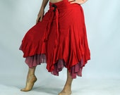 LAYERED COCO SKIRT Red - Renaissance Festival Costume, Belly Dance, Pirate Skirt, Asymmetrical, Peasant Wench, Lightweight Cotton, Gypsy
