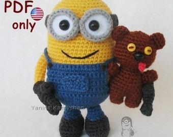 Minion with his bear, amigurumi crochet pattern