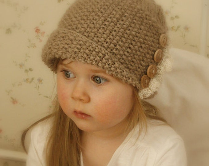 KNITTING PATTERN cloche Frida with buttons and ruffle (baby, toddler, child, woman sizes)