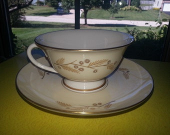 "Vintage 1950s Franciscan Masterpiece China ""Acacia"" Gold Floral Tea Cup and Saucer Set"
