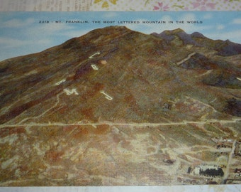 Mt. Frankin, Most Lettered Mountain in the World, El Paso, Texas, Unused Vintage Linen Postcard