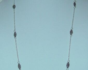 Silver Flower Necklace & Earrings Set