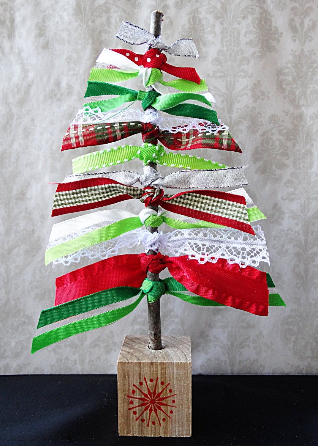 Green ribbon tree home decor christmas decor by for A green christmas decoration