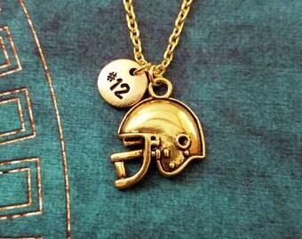 Football Helmet Necklace SMALL Football Jewelry Football Gift Football Team Football Season Helmet Charm Necklace Football Pendant Necklace