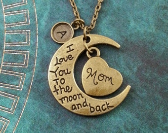 I Love You to the Moon and Back Necklace Mother's Day Necklace Gift for Mom Necklace Moon Necklace Mom Heart Necklace Daughter Necklace