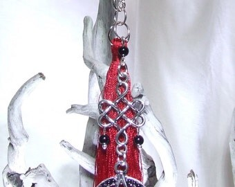 Red Black Wicca Protection Celtic Charm Black Onyx Beads Silver Pentagram Red Silk Tassel Celtic Knot Protection Wicca Charm Wicca Car Charm