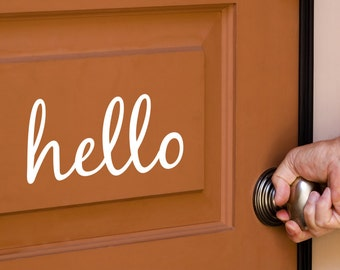 Hello Decal - Vinyl Decal for your Front Door - Hello Vinyl Lettering Entry Way or Porch Decal - Hello Vinyl Sticker Decal For Front Door