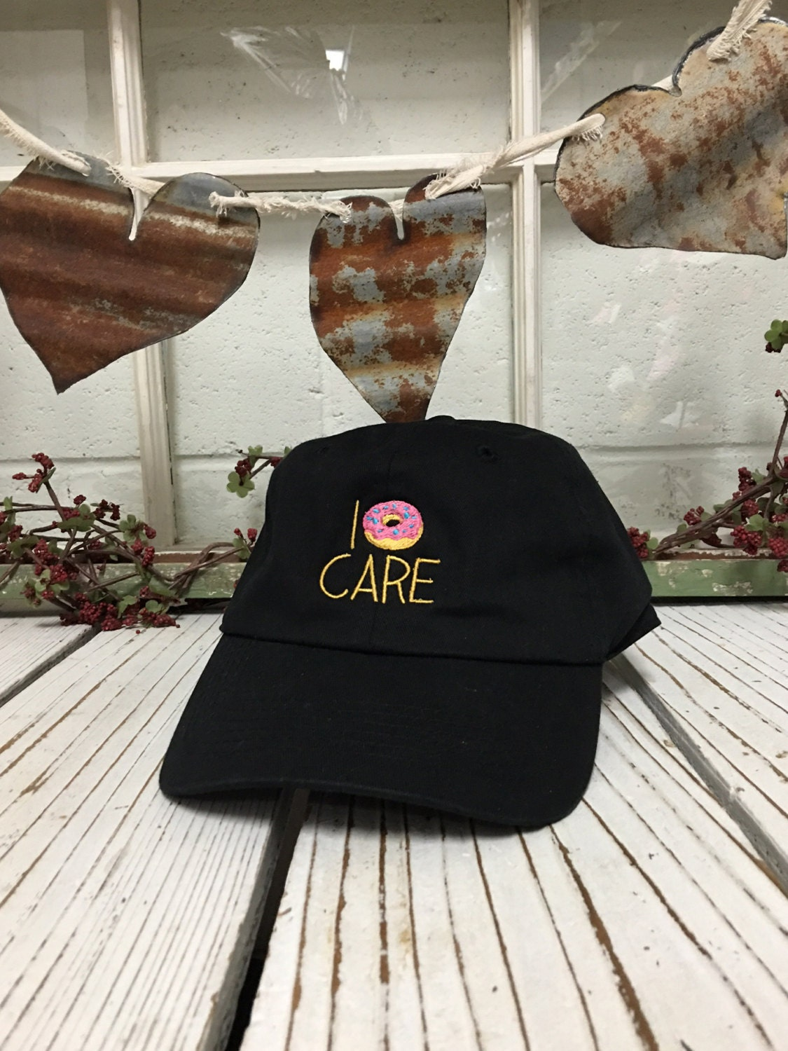I Donut Care Embroidered Baseball Cap Low Profile Curved Bill