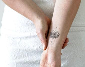 Small lotus temporary tattoo / bohemian temporary tattoo / boho tattoo / lotus tattoo / lotus fake tattoo / boho gift idea