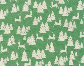 Green Woodland Fabric, Deer Quilt Fabric, 25th & Pine Moda 30364 17 Wintergreen, Deer Fabric, Green Woodland Christmas Fabric, Cotton