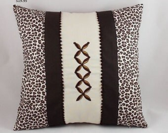 Pillow Sale!!!, Leopard pillow cover, 18x18, Animal print pillow, Brown pillow cover, Throw pillows, Modern pillow, Cushion, Sofa pillow