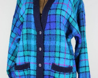 Preppy Plaid 1980s Cardigan
