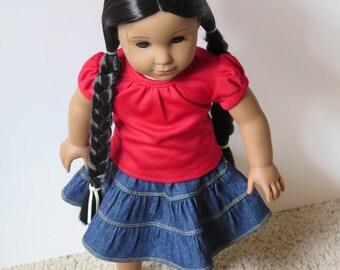 18 Inch Doll Tiered Dark Denim Skirt - American Made Girl Doll Clothes - 18 Inch Doll Skirt - Doll Clothes - Tiered Doll Skirts