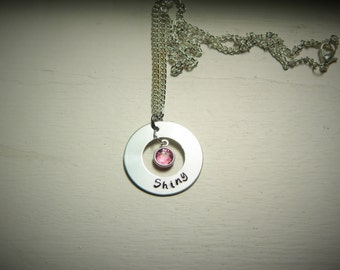 Shiny, hand stamped necklace, Swarovski crystal