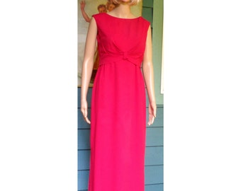 Vintage 1960's Classic True Red  Empire Waist Mod Formal Gown Low Scoop Back Fully Lined Approximate Size Medium By Rappi Mad Men Gown
