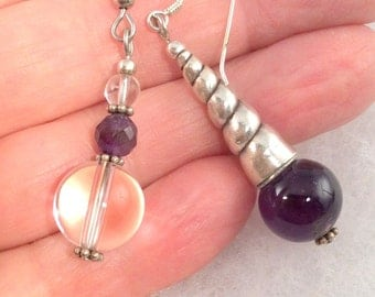 5 different Purple Amethyst Earrings. Sterling Silver  free US ship