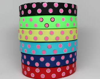 SALE****Polka Dot Silver Foil 7/8 Inch Grosgrain Ribbon by the Yard for Hairbows, Scrapbooking, and More!!