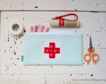 First Aid Pouch, Medical Bag, First Aid Zipper Pouch, Boo Boo Bag, Red Cross Pouch, Epipen Pouch, Seafoam Zipper Bag