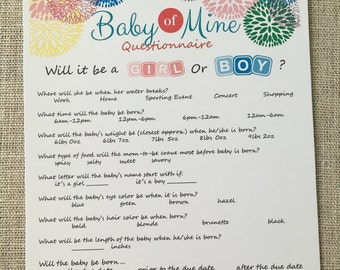 CUSTOM Baby of Mine Questionnaire Prediction Game