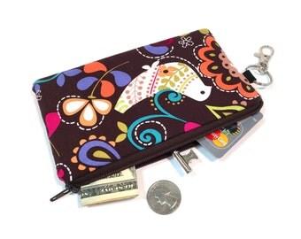 Bird Coin Purse, iPhone 7 Case, Wallet, Clutch, Zipper Pouch, Wristlet, Padded iPhone 6 Case, Small Purse, Key Chain Wallet