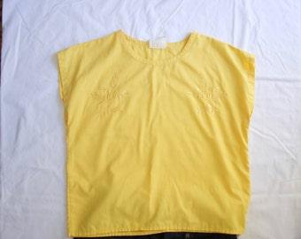Vintage 70's Lemon Chiffon Yellow Embroidered Top
