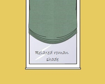 custom Relaxed Roman shade - includes linen fabric & linings