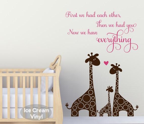 Nursery Decal Animal Wall Art Giraffe Decor Vinyl Lettering