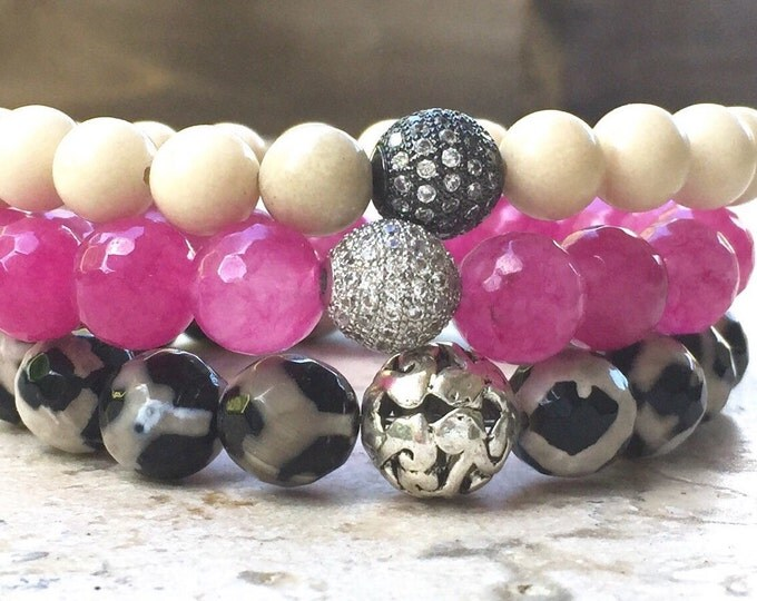 The Wild Side Bracelet Stack,  Fossil and Agate Stone Beads
