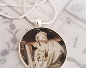 "St James Apostle Pendant with 18"" Sterling Silver Chain - 28mm"