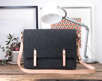 macbook pro 13 case, macbook air 13 case, leather messenger bag, custom, graduation gift, birthday gift, personalized felt bag,