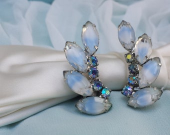 Vintage 1950's Juliana Style Ice Blue and White Marquise Rhinestone Aurora Borealis Silver Ear Climber Clip On Earrings