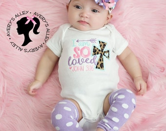 I am so Loved - Girls Leopard Applique Shirt or Bodysuit & Matching Hair Bow Set with Add on Leg Warmers