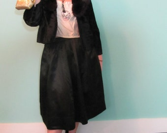 Vintage Black Satin Skirt size small, Early 19th Century Black Satin Skirt, Fitted Waist Vintage Black Skirt