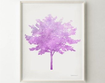 Tree art print Purple Nursery art, Girls Nursery decor, Purple wall decor, Purple art Printable Nursery print, Girls Bedroom Purple wall art