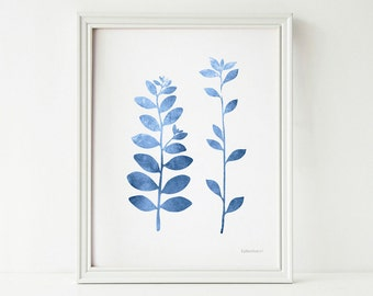 Blue leaf branches art, Blue wall decor PRINTABLE art, Blue and white decor, Blue wall art print, Blue home decor wall art Modern nature art