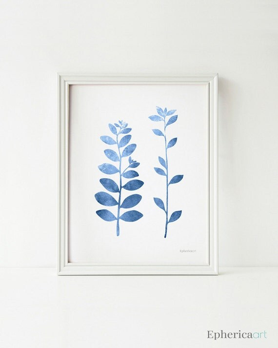 Smoke Blue Wall Decor : Blue leaf branches art wall decor printable