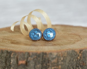 Dark blue stud earrings, shades of blue earrings, wooden ear studs, hand painted earrings, unique earrings, eco jewelry gift for her