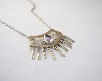 boho necklace/amethyst sterling silver necklace