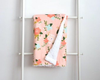 Sherpa Cuddle Blanket - Peach with Coral, Mint and Blush Flowers, Floral
