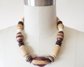 Vintage Wood and Cork Necklace, 1970's Boho Geometric Neutral Necklace.