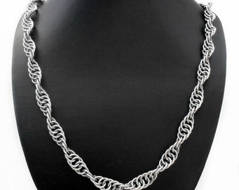 "Stainless Steel 10mm Spiral Helix Chain Necklace - 65cm / 25"" Silver Tone"