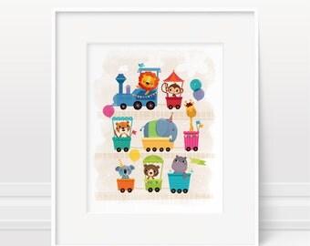 Animal art nursery print - Circus nursery decor, nursery train illustration, nursery wall art